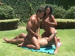 Latin outdoor bisexual threesome with anal