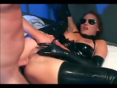 Brunette in uniform fucking in latex lingerie