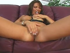 Anna Nova with big tits and pierced pussy plays solo