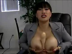 Asian office babe with big tits plays solo
