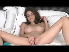 Teen in braces has big tits and masturbates