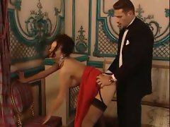 Glamorous girl in party dress fucked hard