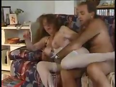 Mature couple fucks and lady is hot in lingerie