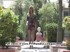 Leslie Tender gorgeous blonde fingering outdoor