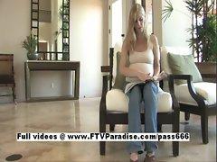 Leah Tender blonde pregnant girl playing