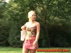 Horny Blonde Masturbating In Park