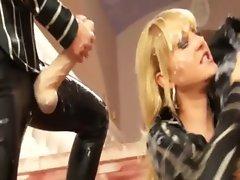 Classy fetish bukkake soaks lesbians