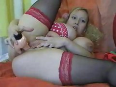 Pigtails curly hair blonde dildo fucks her fat pussy