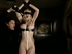 Blindfolded and bound and he plays with her