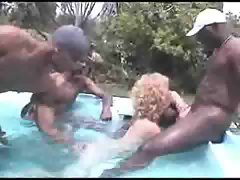Outdoor gangbang with black dudes