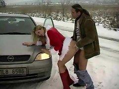 Super hot Christmas slut fucked in the snow