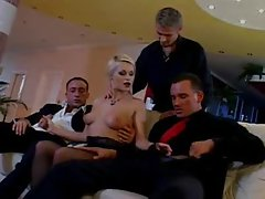 Horny and glamorous blonde is gangbanged
