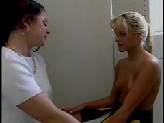 Lesbian sex in shower with two coeds