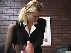 He gets rough handjob from blonde in suit
