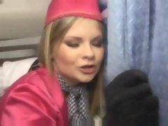 Anally fucking the slutty stewardess on a plane