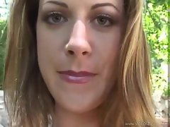 Brunette blows POV and gets facial