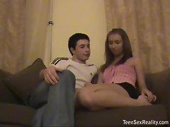 Teen talks with her man