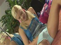 Blonde teen masturbating in pigtails