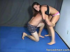 Hot chick wrestles with him