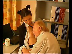 Old man screwing the young office chick