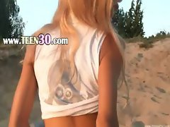 Petite 18 years old coed Loly on beach