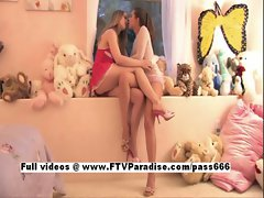 Anna and Amber funny teenage lesbian babes teasing