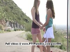 Anna and Amber funny teenage lesbian babes licking