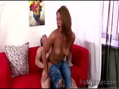Beautiful Lupe Bournett with her jeans on gets deeply anally pumped