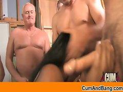 CumBang - Interracial gangbang blowjob and bukkake video 35