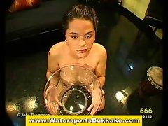 Watersports fetish slut blowjobs and golden shower