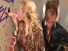 Babes flick their clits at the gloryhole