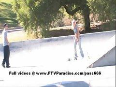 Lacey tender cute woman flashing
