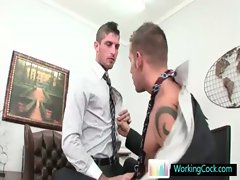 Amazing studs sucking and fucking at the office gay porno