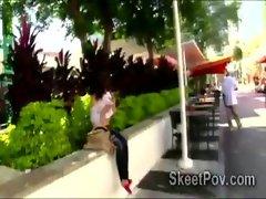 POV movie of 18yo beauty Krystal Banks sucking big dick in public