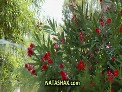 Natasha Shy wet tshirt in garden