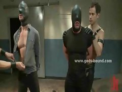 Gay males get tied up and suspended