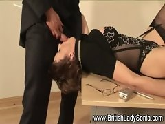 Mature stocking brit sonia sucks hard cock