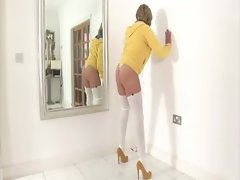 Lady sonia gets her groove on in front of the mirror