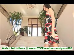 Danica pretty little brunette in sexy dress flashing pussy and toying pussy inserting dress in pussy