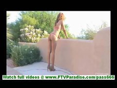 Melanie stunning brunette in bikinis walking outdoors and flashing and toying pussy