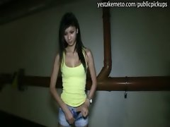 Petite girl flashes her body and nailed at the parking lot for cash