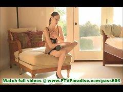 Anessa cute amateur redhead in sexy leopard underwear masturbating with heel of shoe