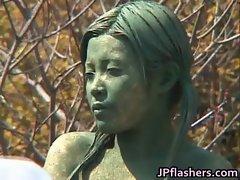 Wild Sensual japanese bronze statue moves