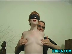 Girlie gets knockers pinched