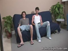 Straight Bobby &amp_ Darren stroking prick for gay video