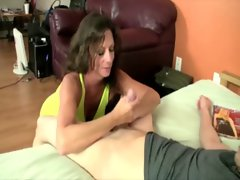 Prick starved Cougar jerks on a stiff pecker