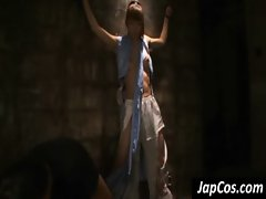 Asian slave gets punished in ropes