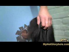 Lustful ebony slutty girl stroking white phallus - Gloryhole Initiations 20
