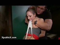 Bound Blond banged in bar stool in public