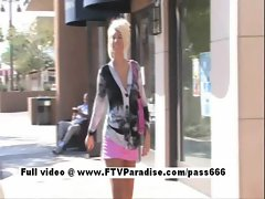 Cool cutie Danica light-haired girlie public flashing knockers and posing panties